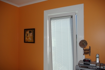 photo of the Gold Room showing the magnetic drive of the venetian blinds.
