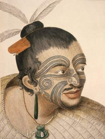 Portrait of a Māori chief by Sydney Parkinson, the artist on Captain Cook's first voyage to New Zealand in 1769.