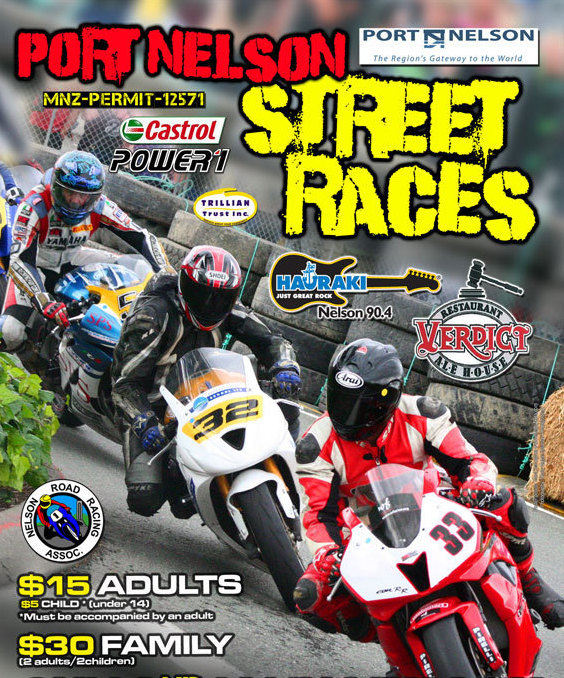 Poster for The King of the port street race opposite Amber House Bed and Breakfast in the Nelson-Tasman 