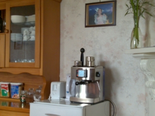 Sunbeam EM6500 Espresso machine in the Breakfast Roomat Amber House Bed and Breakfast accommodations in the 